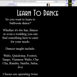 Learn To Dance Website from 2006