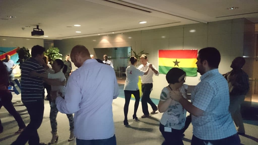 Salsa workshop on a corporate teambuilding day