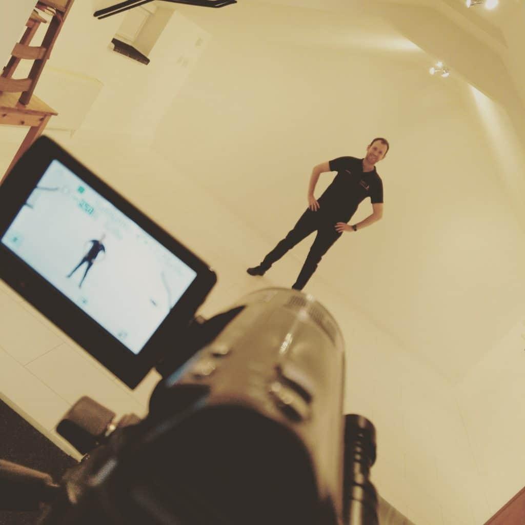 Antony Holeksa recording free online dance class videos in the studio