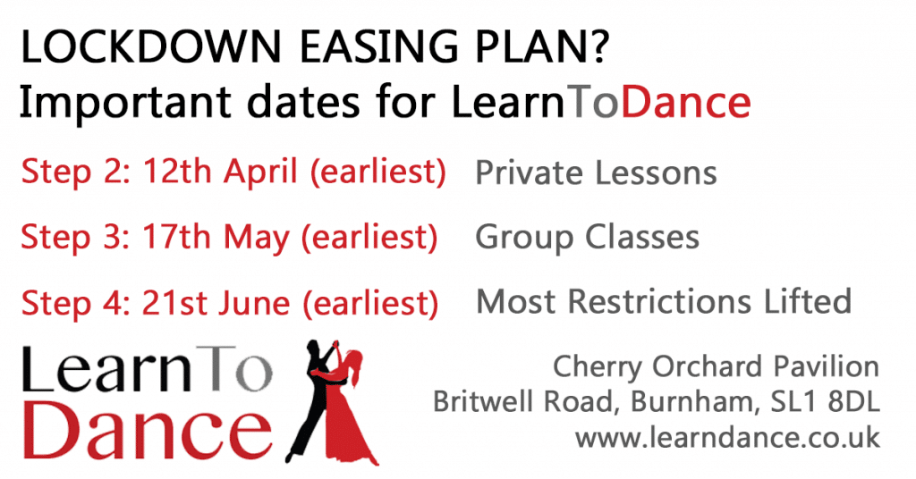 Lockdown easing potential dates for the Learn To Dance school