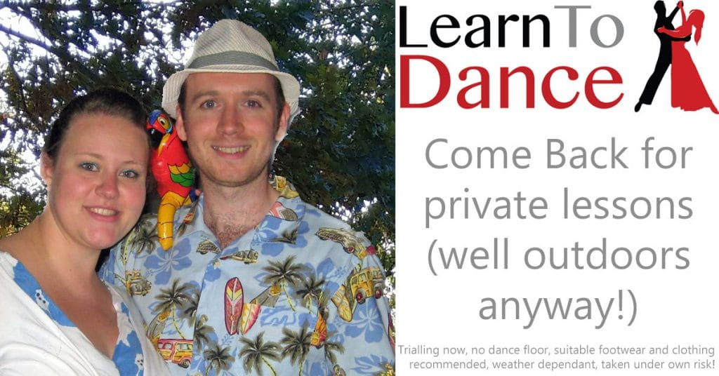 Picture of a smiling couple dressed in summer wear. Text on right advertising lockdown ballroom dance lesson outdoors with Learn To Dance