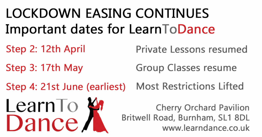 Dance School Reopening details for April, May & June 2021 lockdown easing