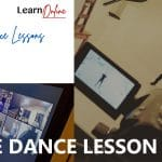 online dance lesson videos white text on a background of three images. Image 1 is the Learn To Dance logo with 'Learn Online' and 'Online Dance Lessons' text, image 2 is a TV screen with a grid of dancers on Zoom, image 3 is a video camera focusing on Antony recording a YouTube dance lesson corporate events