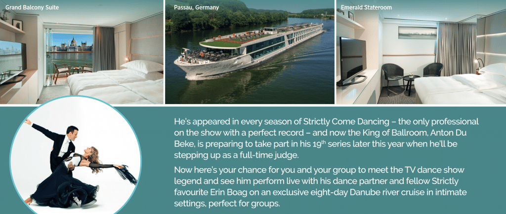 Dance Down The Danube with Anton & Erin screenshot featuring pictures of cabin interiors and an air shot of the cruise boat on the river plus a biography of Anton