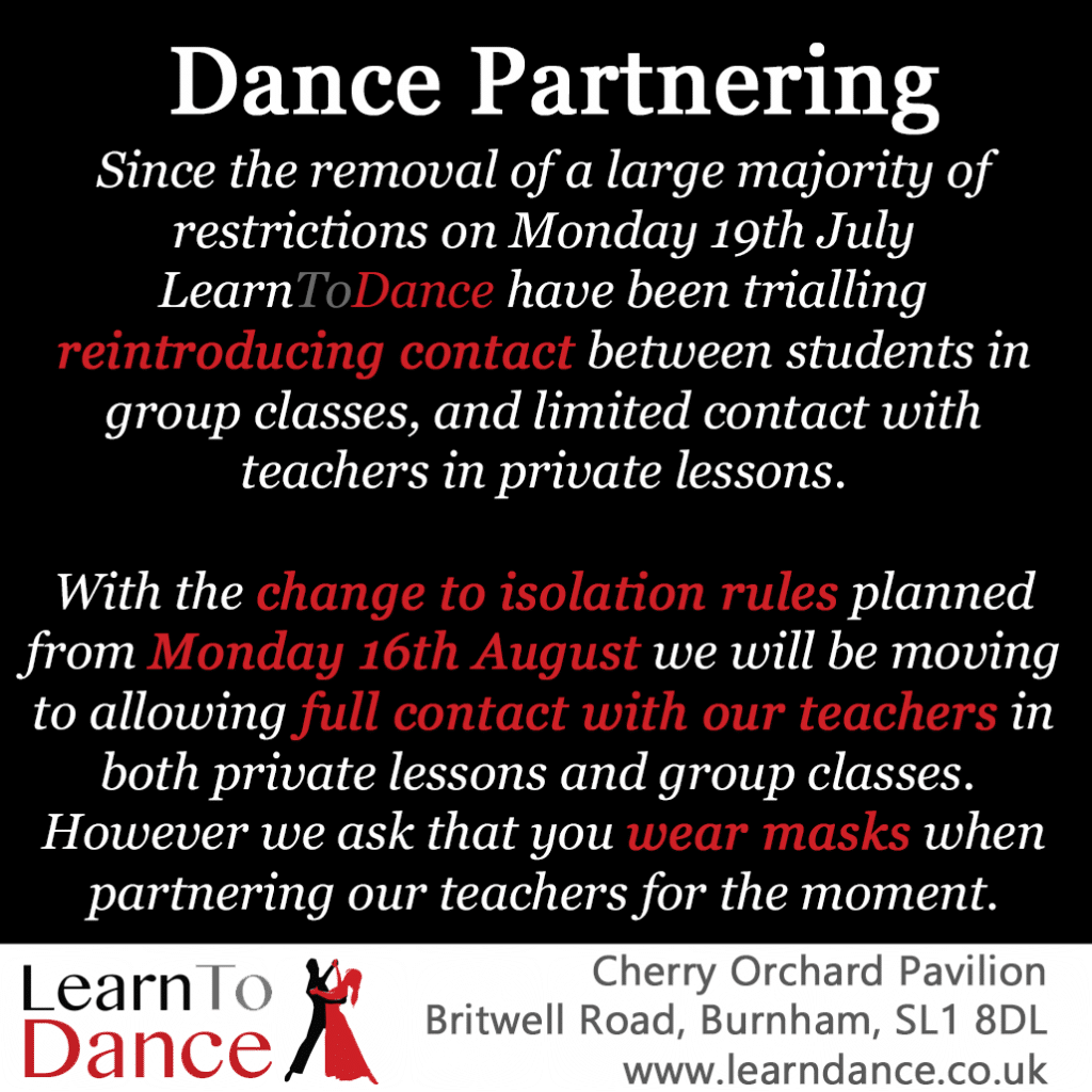 Dance Teacher Partnering news text on black background with Learn To Dance logo, address and website details