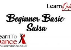 Beginner Basic Salsa text with Learn Online in the top corner and the Learn To Dance logo and website in the bottom right corner